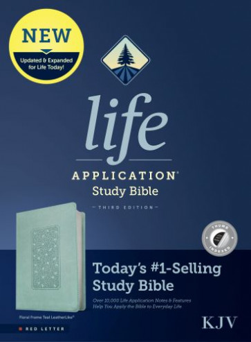 KJV Life Application Study Bible, Third Edition (Red Letter, LeatherLike, Floral Frame Teal, Indexed) - Leather / fine binding Floral Frame Teal With thumb index and ribbon marker(s)