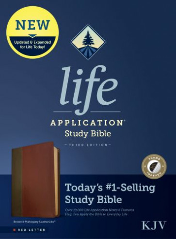 KJV Life Application Study Bible, Third Edition (Red Letter, LeatherLike, Brown/Mahogany, Indexed) - Leather / fine binding Brown/Mahogany With thumb index and ribbon marker(s)