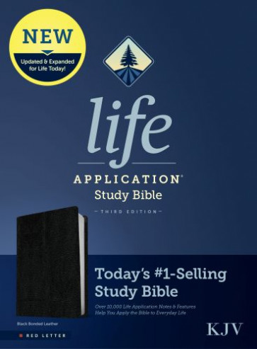 KJV Life Application Study Bible, Third Edition (Red Letter, Bonded Leather, Black) - Leather / fine binding Black With ribbon marker(s)