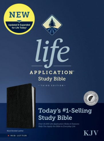 KJV Life Application Study Bible, Third Edition (Red Letter, Bonded Leather, Black, Indexed) - Leather / fine binding Black With thumb index and ribbon marker(s)