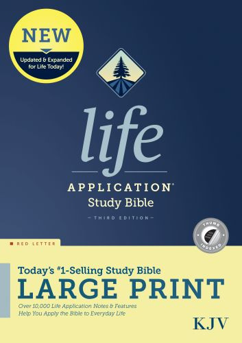 KJV Life Application Study Bible, Third Edition, Large Print (Red Letter, Hardcover, Indexed) - Hardcover With printed dust jacket and thumb index