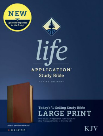 KJV Life Application Study Bible, Third Edition, Large Print (Red Letter, LeatherLike, Brown/Mahogany) - LeatherLike Brown/Mahogany With ribbon marker(s)
