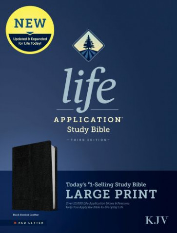 KJV Life Application Study Bible, Third Edition, Large Print (Red Letter, Bonded Leather, Black) - Leather / fine binding Black With ribbon marker(s)