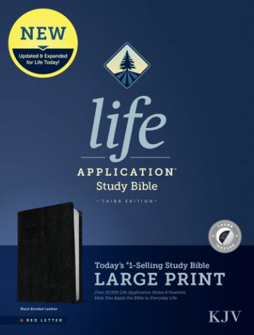 KJV Life Application Study Bible, Third Edition, Large Print (Red Letter, Bonded Leather, Black, Indexed) - Leather / fine binding Black With thumb index and ribbon marker(s)