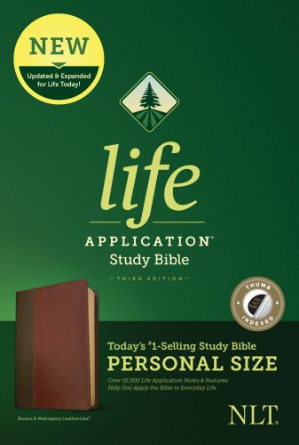 NLT Life Application Study Bible, Third Edition, Personal Size (LeatherLike, Brown/Mahogany, Indexed) - LeatherLike Brown/Mahogany/Multicolor With thumb index and ribbon marker(s)