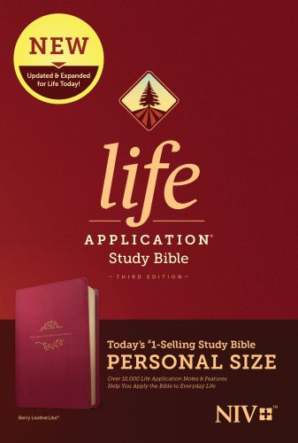 NIV Life Application Study Bible, Third Edition, Personal Size (LeatherLike, Berry) - LeatherLike Berry With ribbon marker(s)