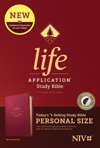 NIV Life Application Study Bible, Third Edition, Personal Size (LeatherLike, Berry, Indexed) - LeatherLike Berry With thumb index and ribbon marker(s)