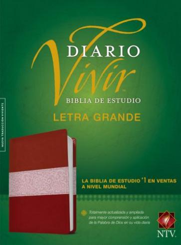 Biblia de estudio del diario vivir NTV, letra grande (Letra Roja, SentiPiel, Vino tinto/Rosa) - LeatherLike Burgundy/Rose With ribbon marker(s)