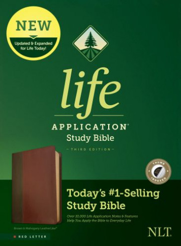 NLT Life Application Study Bible, Third Edition (Red Letter, LeatherLike, Brown/Mahogany, Indexed) - LeatherLike Brown/Mahogany/Multicolor With thumb index
