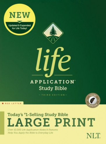 NLT Life Application Study Bible, Third Edition, Large Print (Red Letter, Hardcover, Indexed) - Hardcover With dust jacket and thumb index