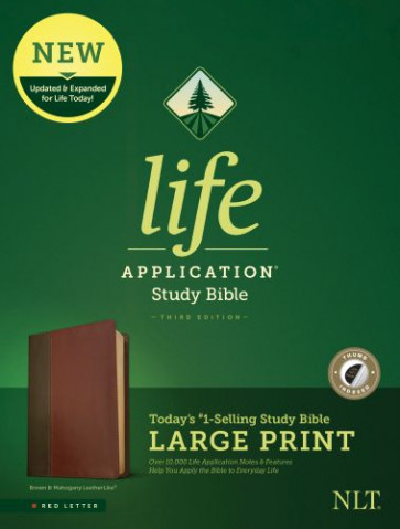 NLT Life Application Study Bible, Third Edition, Large Print (Red Letter, LeatherLike, Brown/Tan, Indexed) - LeatherLike Brown/Multicolor/Tan With thumb index and ribbon marker(s)