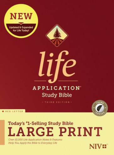 NIV Life Application Study Bible, Third Edition, Large Print (Red Letter, Hardcover, Indexed) - Hardcover With printed dust jacket and thumb index