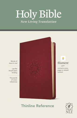 NLT Thinline Reference Bible, Filament Enabled Edition (Red Letter, LeatherLike, Aurora Cranberry) - LeatherLike Aurora Cranberry With ribbon marker(s)