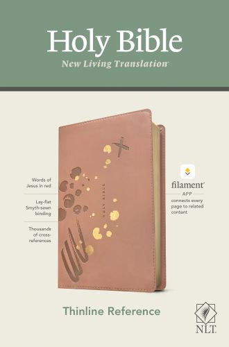 NLT Thinline Reference Bible, Filament Enabled Edition (Red Letter, LeatherLike, Brushed Pink) - LeatherLike Brushed Pink With ribbon marker(s)
