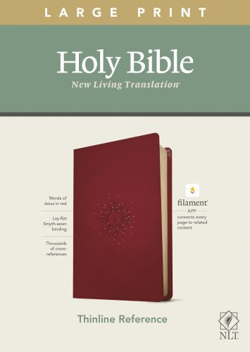 NLT Large Print Thinline Reference Bible, Filament Enabled Edition (Red Letter, LeatherLike, Aurora Cranberry) - LeatherLike Aurora Cranberry With ribbon marker(s)