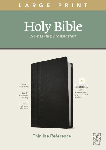 NLT Large Print Thinline Reference Bible, Filament Enabled Edition (Red Letter, LeatherLike, Cross Grip Black) - LeatherLike Cross Grip Black With ribbon marker(s)