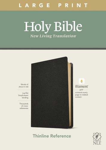 NLT Large Print Thinline Reference Bible, Filament Enabled Edition (Red Letter, Genuine Leather, Black) - Genuine Leather Black With ribbon marker(s)