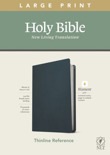 NLT Large Print Thinline Reference Bible, Filament Enabled Edition (Red Letter, Genuine Leather, Navy Blue) - Genuine Leather Navy Blue With ribbon marker(s)