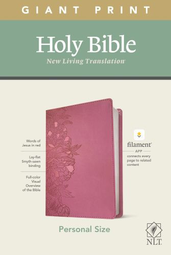 NLT Personal Size Giant Print Bible, Filament Enabled Edition (Red Letter, LeatherLike, Peony Pink) - LeatherLike Peony Pink With ribbon marker(s)