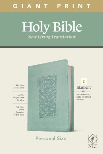 NLT Personal Size Giant Print Bible, Filament Enabled Edition (Red Letter, LeatherLike, Floral Frame Teal) - LeatherLike Floral Frame Teal With ribbon marker(s)