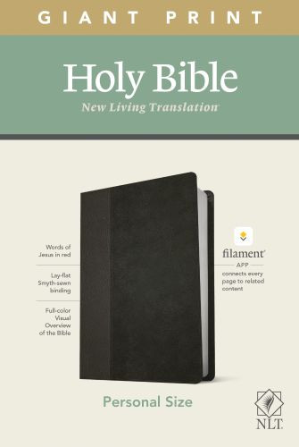 NLT Personal Size Giant Print Bible, Filament Enabled Edition (Red Letter, LeatherLike, Black/Onyx) - LeatherLike Black/Onyx/Multicolor With ribbon marker(s)