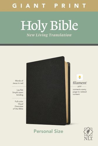 NLT Personal Size Giant Print Bible, Filament Enabled Edition (Red Letter, Genuine Leather, Black) - Genuine Leather Black With ribbon marker(s)