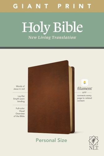 NLT Personal Size Giant Print Bible, Filament Enabled Edition (Red Letter, Genuine Leather, Brown) - Genuine Leather Brown With ribbon marker(s)