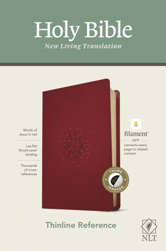 NLT Thinline Reference Bible, Filament Enabled Edition (Red Letter, LeatherLike, Aurora Cranberry, Indexed) - LeatherLike Aurora Cranberry With thumb index and ribbon marker(s)