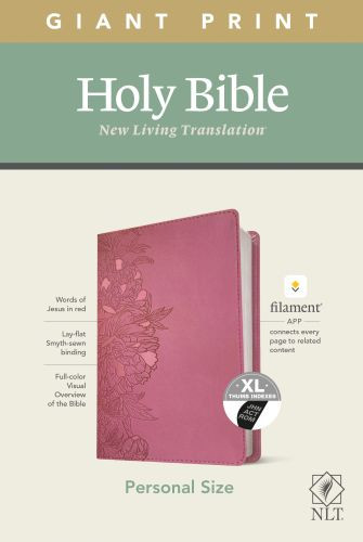 NLT Personal Size Giant Print Bible, Filament Enabled Edition (Red Letter, LeatherLike, Peony Pink, Indexed) - LeatherLike Peony Pink With thumb index and ribbon marker(s)