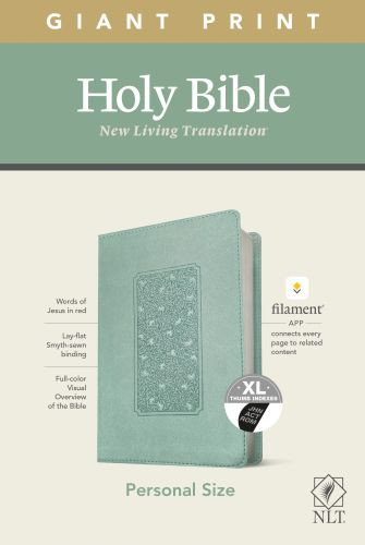NLT Personal Size Giant Print Bible, Filament Enabled Edition (Red Letter, LeatherLike, Floral Frame Teal, Indexed) - LeatherLike Floral Frame Teal With thumb index and ribbon marker(s)
