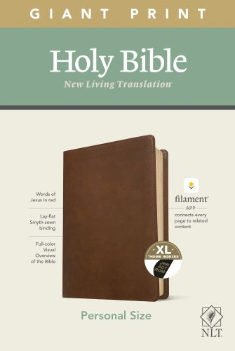 NLT Personal Size Giant Print Bible, Filament Enabled Edition (Red Letter, LeatherLike, Rustic Brown, Indexed) - LeatherLike Rustic Brown With thumb index and ribbon marker(s)