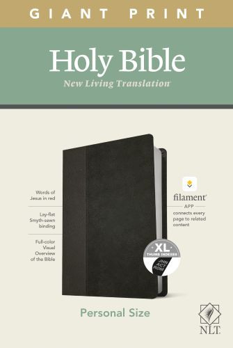 NLT Personal Size Giant Print Bible, Filament Enabled Edition (Red Letter, LeatherLike, Black/Onyx, Indexed) - LeatherLike Black/Onyx/Multicolor With thumb index and ribbon marker(s)
