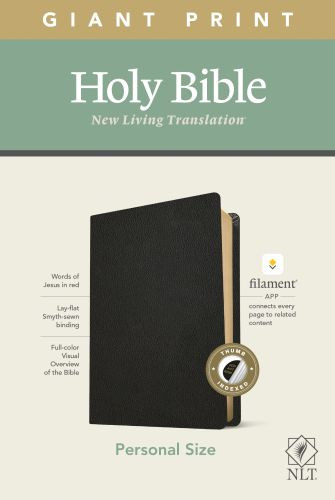 NLT Personal Size Giant Print Bible, Filament Enabled Edition (Red Letter, Genuine Leather, Black, Indexed) - Genuine Leather Black With thumb index and ribbon marker(s)