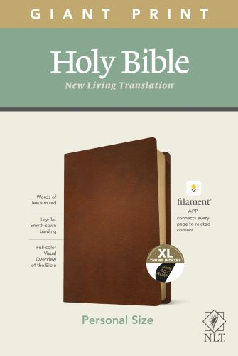 NLT Personal Size Giant Print Bible, Filament Enabled Edition (Red Letter, Genuine Leather, Brown, Indexed) - Genuine Leather Brown With thumb index and ribbon marker(s)
