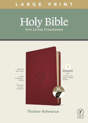 NLT Large Print Thinline Reference Bible, Filament Enabled Edition (Red Letter, LeatherLike, Aurora Cranberry, Indexed) - LeatherLike Aurora Cranberry With thumb index and ribbon marker(s)