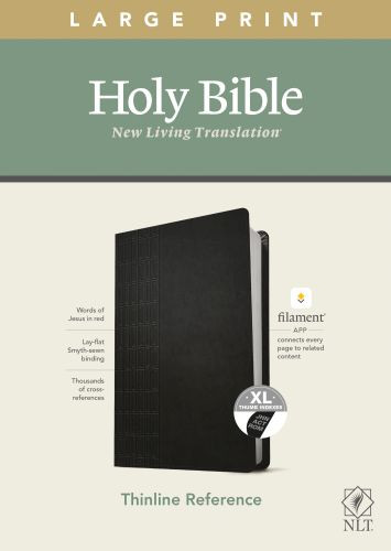 NLT Large Print Thinline Reference Bible, Filament Enabled Edition (Red Letter, LeatherLike, Cross Grip Black, Indexed) - LeatherLike Cross Grip Black With thumb index and ribbon marker(s)