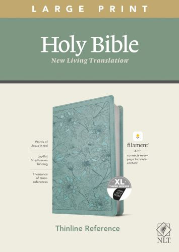 NLT Large Print Thinline Reference Bible, Filament Enabled Edition (Red Letter, LeatherLike, Floral Leaf Teal, Indexed) - LeatherLike Floral Leaf Teal With thumb index and ribbon marker(s)