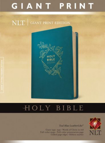 Holy Bible, Giant Print NLT (Red Letter, LeatherLike, Teal Blue) - LeatherLike Teal Blue With ribbon marker(s)