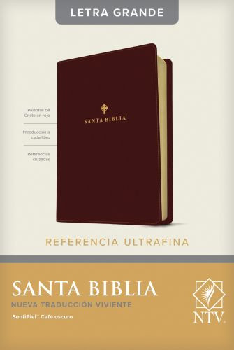 Santa Biblia NTV, Edición de referencia ultrafina, letra grande (Letra Roja, SentiPiel, Café oscuro ) - LeatherLike Dark Brown With ribbon marker(s)