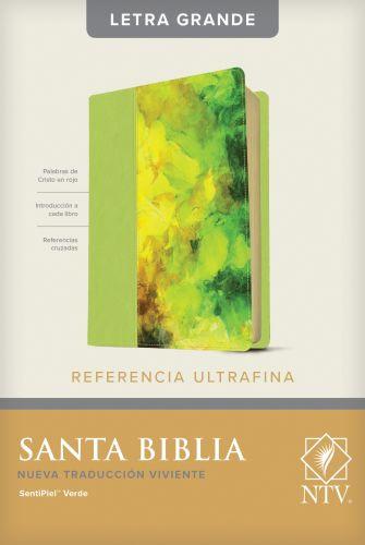 Santa Biblia NTV, Edición de referencia ultrafina, letra grande (Letra Roja, SentiPiel, Verde) - LeatherLike Green With ribbon marker(s)