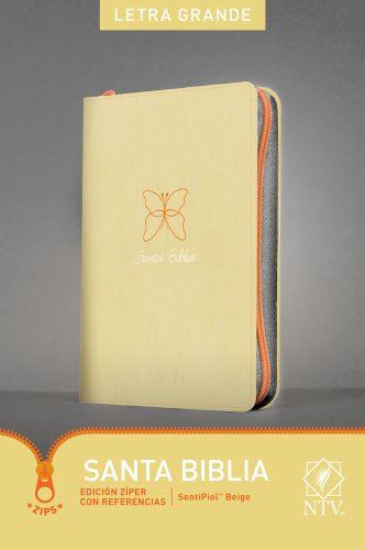 Santa Biblia NTV, Edición zíper con referencias, letra grande (Letra Roja, SentiPiel, Beige) - LeatherLike Beige With zip fastener