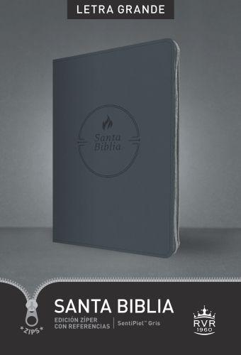 Santa Biblia RVR60, Edición zíper con referencias, letra grande (Letra Roja, SentiPiel, Gris) - Imitation Leather Gray With zip fastener