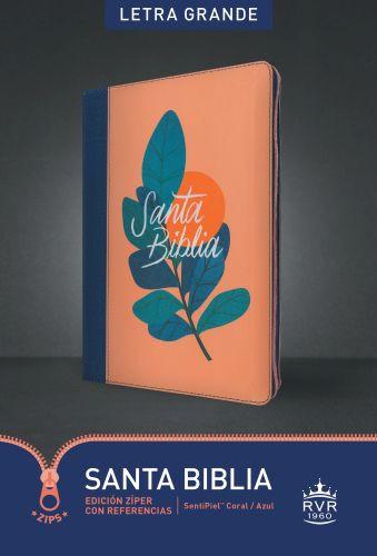 Santa Biblia RVR60, Edición zíper con referencias, letra grande (Letra Roja, SentiPiel, Coral/Azul) - Imitation Leather Blue/Coral With zip fastener