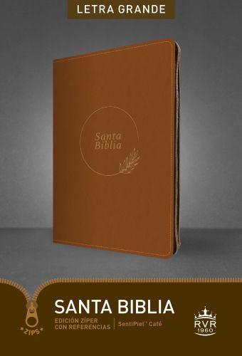 Santa Biblia RVR60, Edición zíper con referencias, letra grande (Letra Roja, SentiPiel, Café) - Imitation Leather Brown With zip fastener