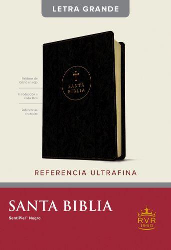 Santa Biblia RVR60, Edición de referencia ultrafina, letra grande (Letra Roja, SentiPiel, Negro) - LeatherLike Black With ribbon marker(s)