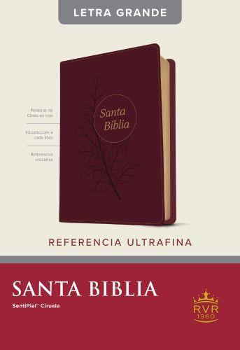Santa Biblia RVR60, Edición de referencia ultrafina, letra grande (Letra Roja, SentiPiel, Ciruela) - LeatherLike Plum With ribbon marker(s)