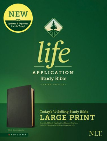 NLT Life Application Study Bible, Third Edition, Large Print (Red Letter, Genuine Leather, Black) - Genuine Leather Black With ribbon marker(s)