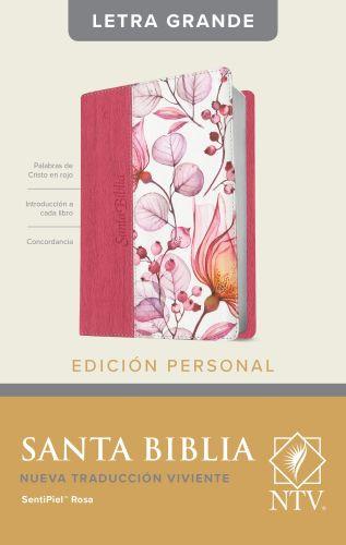 Santa Biblia NTV, Edición personal, letra grande (Letra Roja, SentiPiel, Rosa) - LeatherLike Rose With ribbon marker(s)