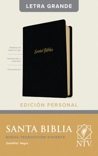 Santa Biblia NTV, Edición personal, letra grande (Letra Roja, SentiPiel, Negro, Índice) - LeatherLike Black With thumb index and ribbon marker(s)