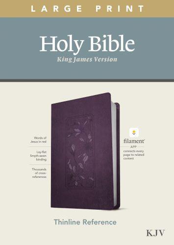 KJV Large Print Thinline Reference Bible, Filament Enabled Edition (Red Letter, LeatherLike, Floral Frame Purple) - LeatherLike Floral Frame Purple With ribbon marker(s)